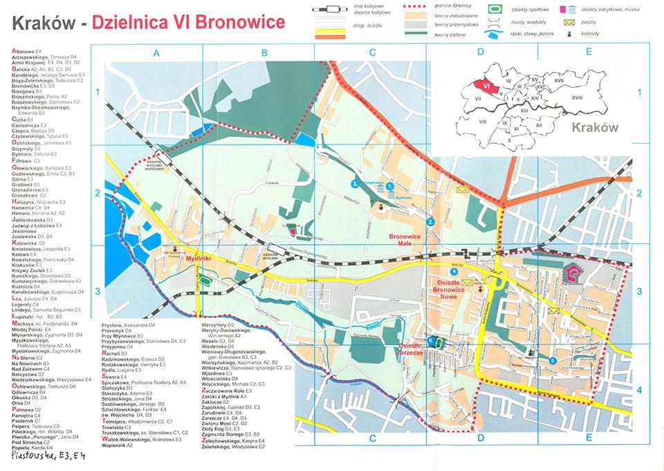 Mapa Bronowic Dzielnica 6 Bronowice